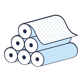 Illustration showing raw fabric foll